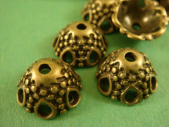 Antique Brass Domed Dotted Bead Caps