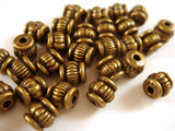 Antique Brass Ribbed Lantern Beads