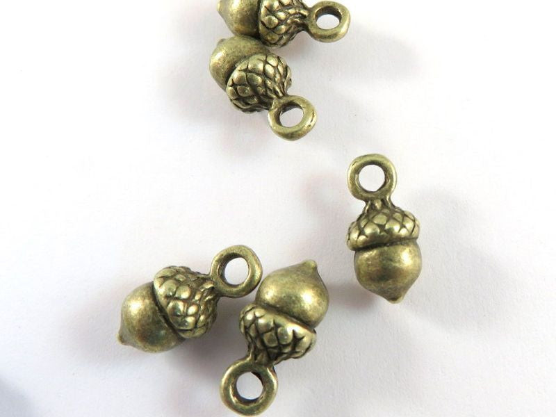 Antique Bronze Charms, Double Sided Single Acorns 3D Drops 14x7mm - 10 pcs. - DC3037-AB10