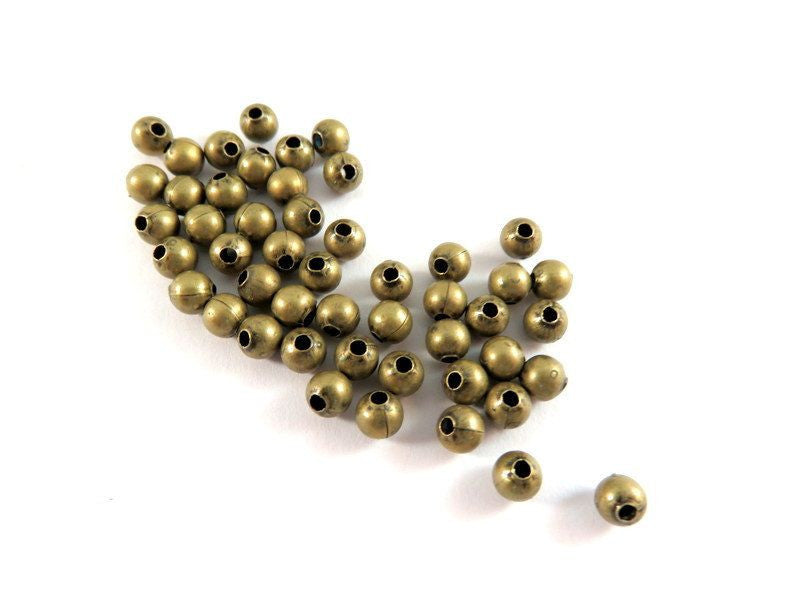 Antique Bronze Beads, Round Plated Brass Metal Ball Spacers 4mm - 225 pcs. - M7058-AB225