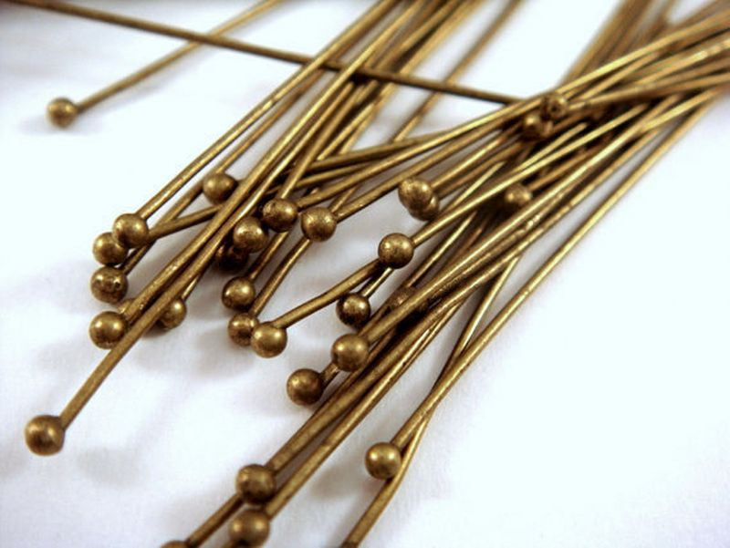 Ball Pins, Antique Bronze Finished Brass, 2 in./50mm, 23-24g - 50 pcs. - F4008BHP-AB50