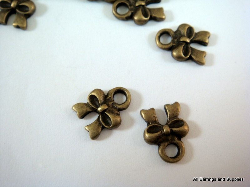 Antique Bronze Charms, Small Ribbon Bow Drops LF/NF/CF 8mm - 10 pcs. - DC3016-AB10