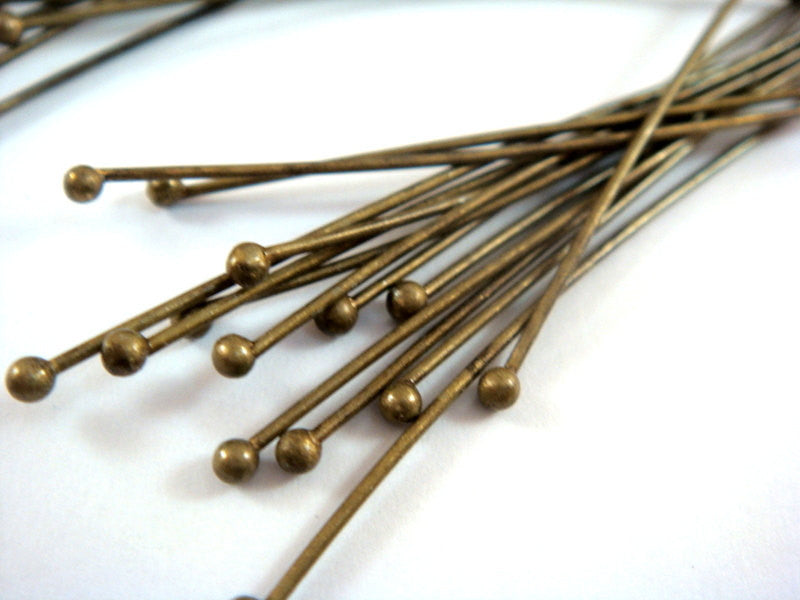 Ball Pins, Antique Bronze Finished Brass, 2.25 in./57mm, 20-21g - 50 pcs. - F4130BHP-AB50