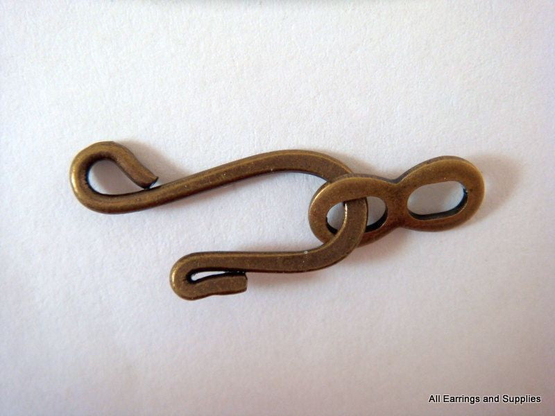 Hook and Eye Clasps, Antique Bronze Finished Brass 25x9mm - 4 sets - 6345-6