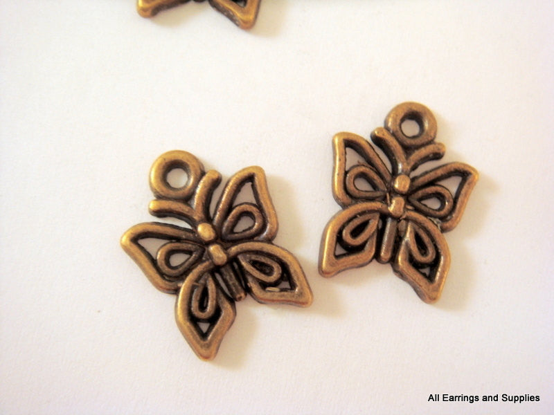 Antique Bronze Charms, Small Filigree Butterfly Drops LF/NF/CF 15x12.5mm - 10 pcs. - DC3017-AB10
