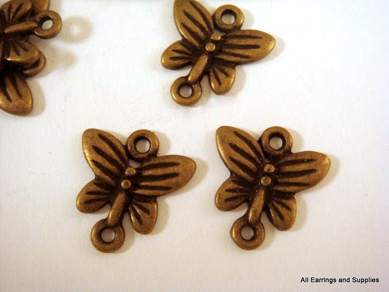 Antique Bronze Connectors, Small Butterfly Pendant Links LF/NF/CF 14x13x2mm - 20 pcs. - F4105LK-AB20
