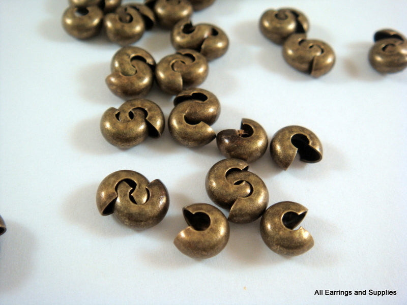 Antique Bronze Crimp Bead Covers, Plated Brass NF 5mm - 50 pcs. - F4146CC-AB50