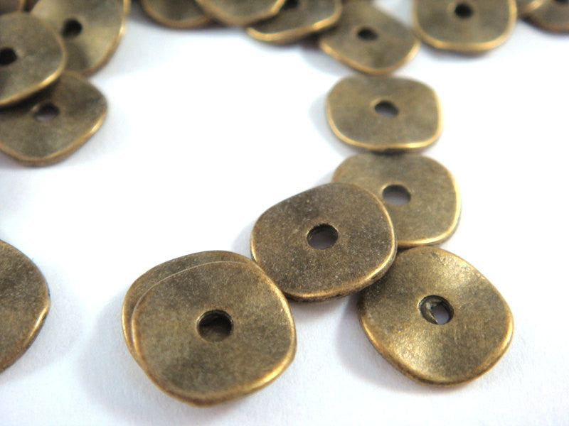 Antique Bronze Beads, Round Wavy Donut Disk Plated Metal Spacers LF/CF/NF 10x1mm - 20 pcs. - M7028-AB20
