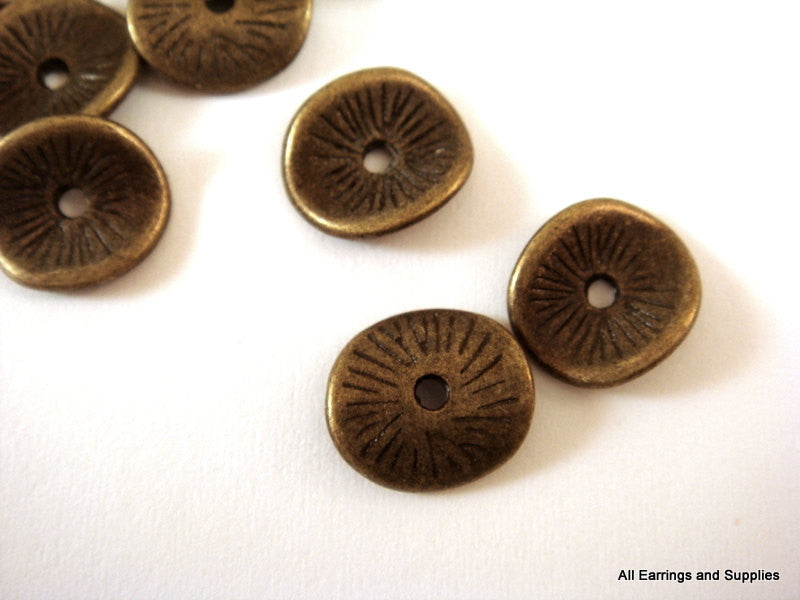 Antique Bronze Beads, Grooved Wavy Donut Plated Metal Disk Spacers LF/CF 9.5x8.5mm - 25 pcs. - M7038-AB25