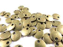 Antique Bronze Beads, Flat Round Lentil Disk Plated Metal Charm Drops LF/NF 8mm - 50 pcs. - M7040-AB50