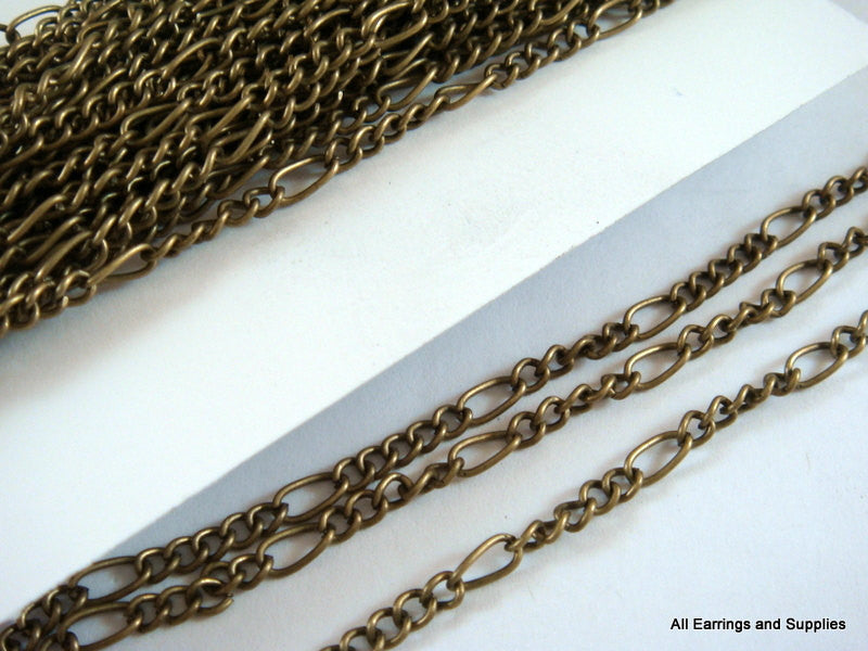 Antique Bronze Chain, Mother-Son Figaro Style, Unsoldered, LF/NF 6x3mm/3.5x3mm - 25 feet - STR9038CH-AB25