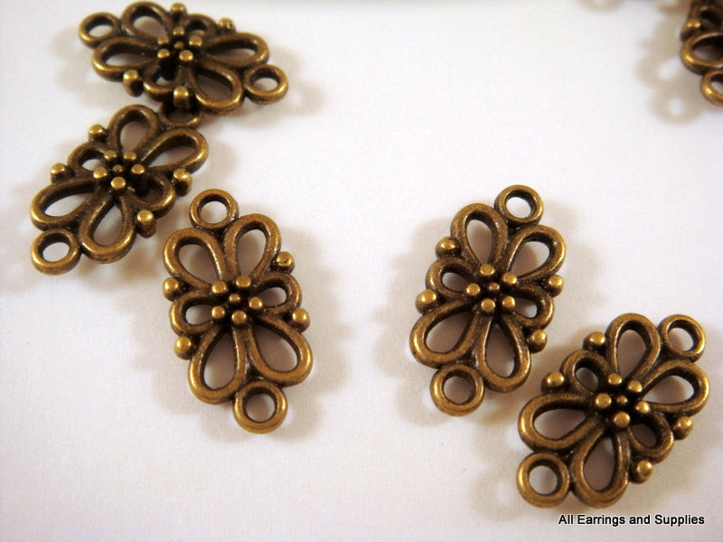 Antique Bronze Connectors, Filigree Flower Links, Double-Sided, NF 16x8mm - 10 pcs. - F4125LK-AB10