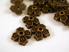 Antique Bronze Flower Bead Caps