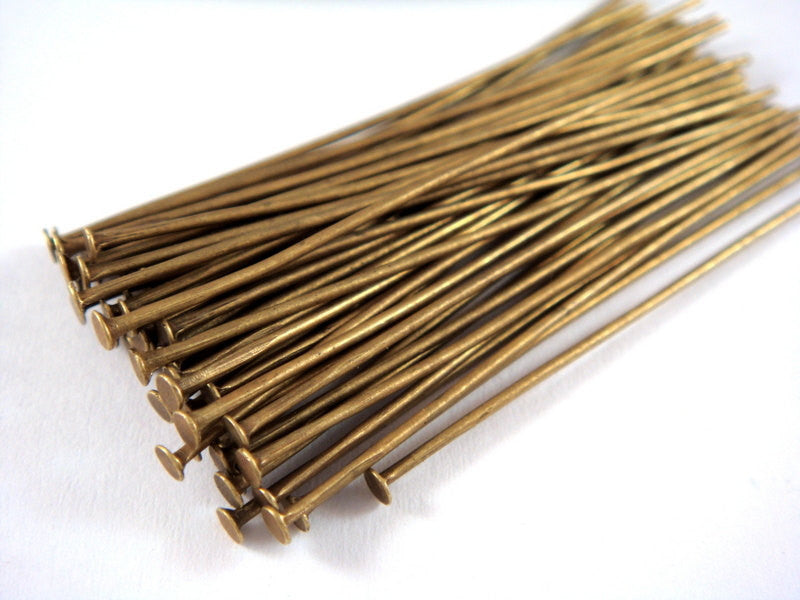 Flat Headpins, Antique Bronze Finished Iron NF, 2 in./50mm, 20-21g - 100 pcs. - F4001HP-AB2100
