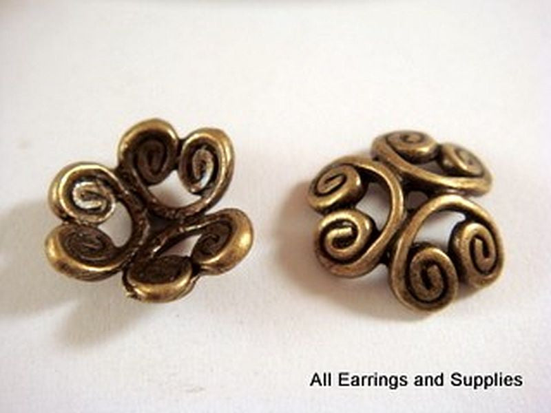 Antique Bronze Heart Bead Caps