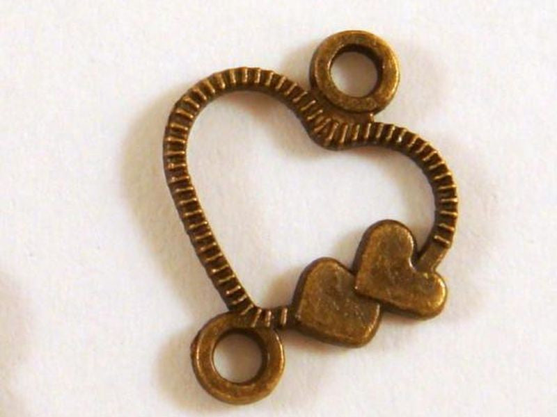 Antique Bronze Heart Connectors