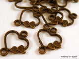 Antique Bronze Heart Links