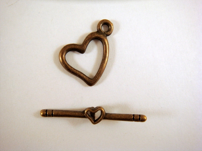 Toggle Clasps, Antique Bronze Hearts LF/NF/CF 14mm - 5 sets - F4063TC-AB5