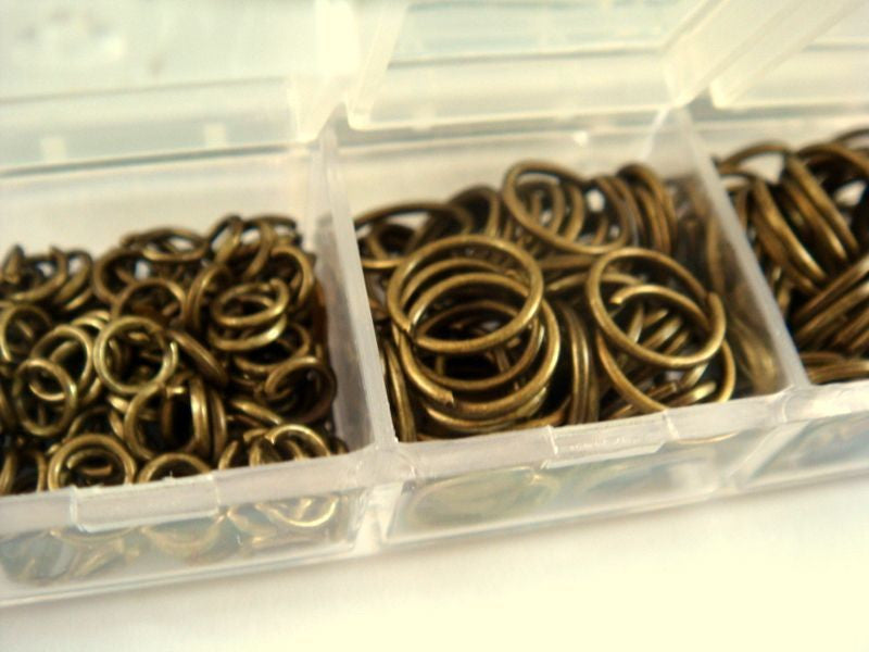 Antique Bronze Jump Rings, Open/Unsoldered Boxed Assorted, NF, 4mm to 10mm Assortment - F4003JR-ASAB
