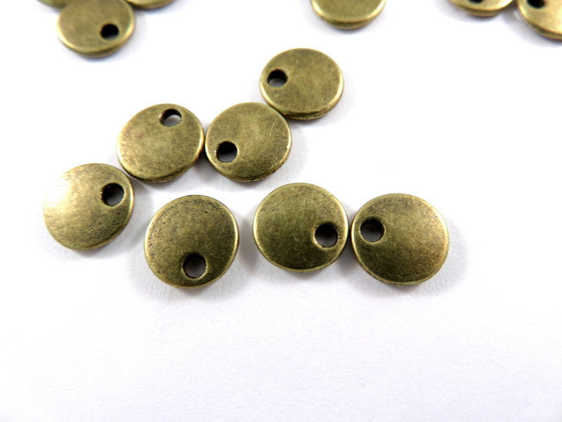 Antique Bronze Lentil Beads