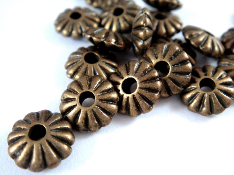 Antique Bronze Beads, Ribbed Saucer Plated Metal Flower Disk Spacers LF/NF/CF 9x4mm - 25 pcs. - M7029-AB25