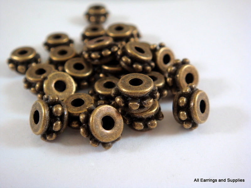 Antique Bronze Beads, Large Hole Dotted Rondelle Plated Metal Spacers LF/NF/CF 7x4.5mm - 25 pcs. - M7048-AB25