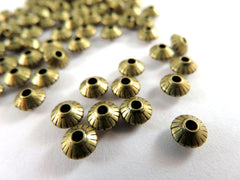 Antique Bronze Beads, Bicone Ribbed Saucer Plated Brass Spacers 5x3mm - 50 pcs. - 6539-8