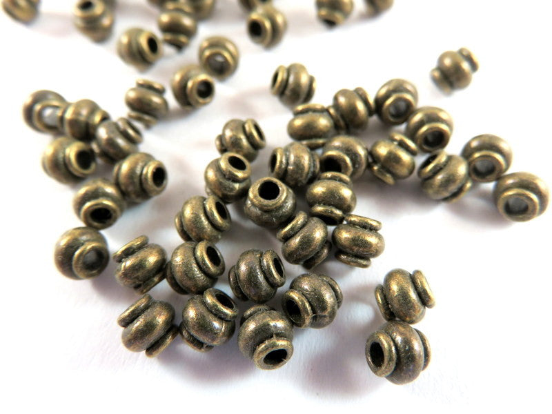 Antique Bronze Beads, Lantern Barrel Plated Metal Spacers LF/NF/CF approx. 4.5mm - 50 pcs. - M7069-AB50