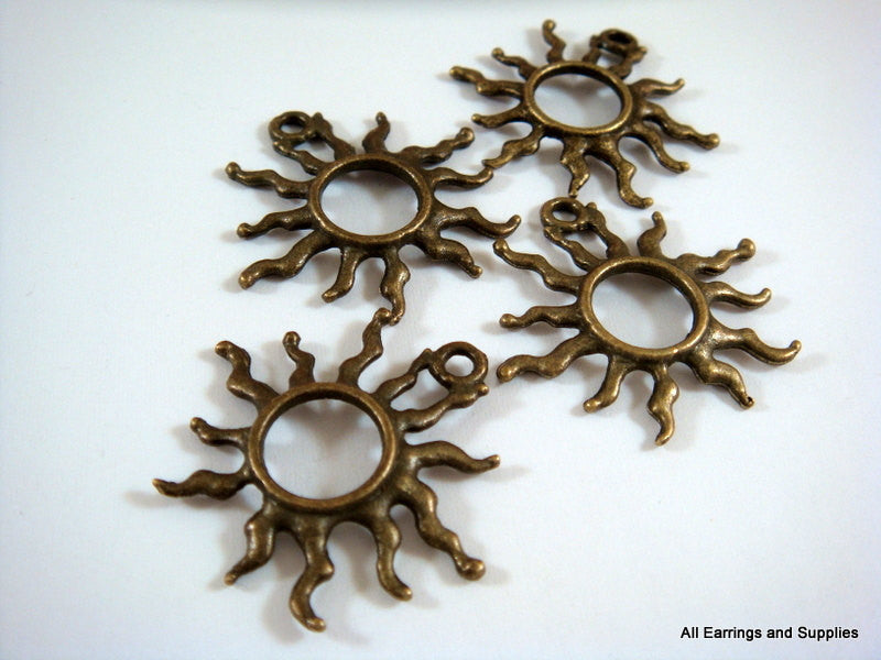 Antique Bronze Sun Pendants