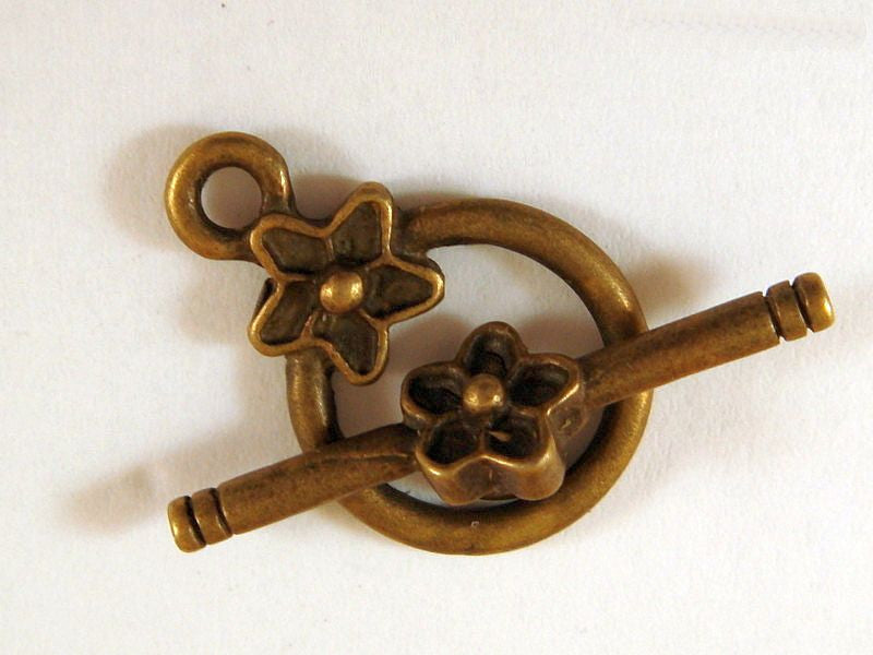 Toggle Clasps, Antique Bronze Round Flowers LF/NF 14mm - 5 sets - F4020TC-AB5