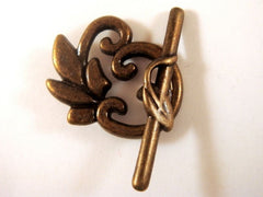 Antique Bronze Toggle Clasps, Tibetan Style Flowers LF/NF/CF 24x19mm - 3 sets - F4165TC-AB3