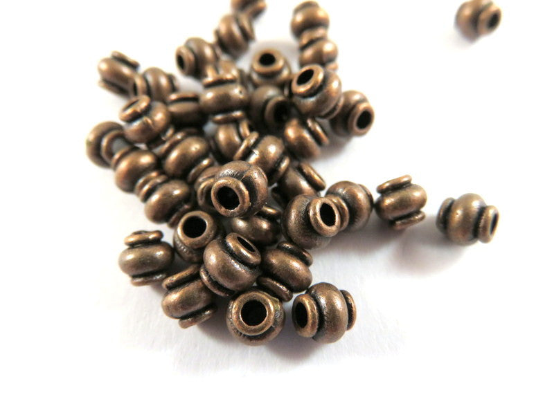 Antique Copper Beads, Lantern Barrel Plated Metal Spacers LF/CF approx. 4.5mm - 50 pcs. - M7069-AC50