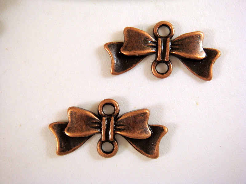 Antique Copper Connectors, Ribbon Bow Pendant Drops 20x10mm - 25 pcs. - F4058LK-AC25