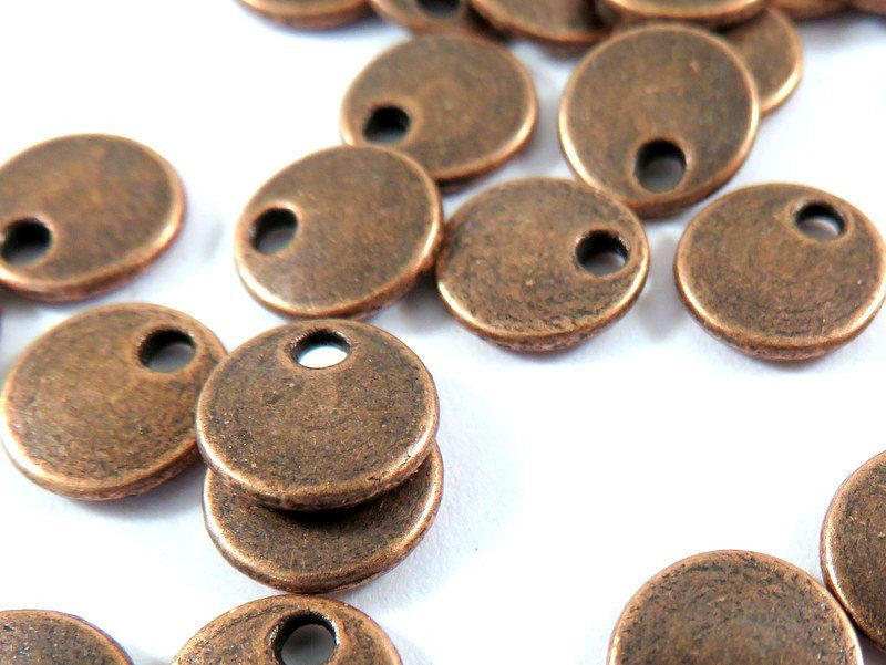 Antique Copper Disk Beads