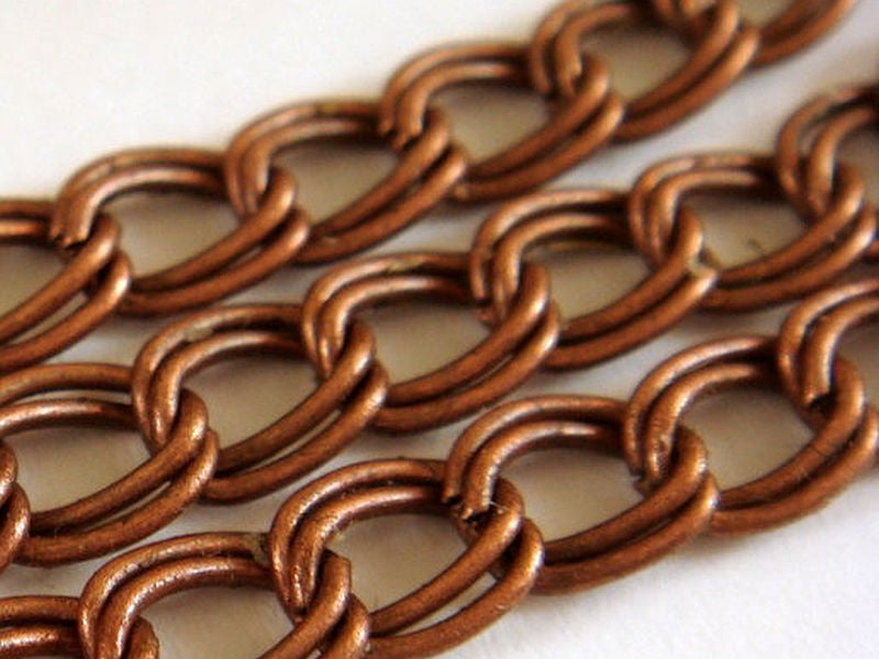 Antique Copper Chain, Double Link Curb Style, Unsoldered, 6x5mm - 5 feet - STR9022CH-AC5