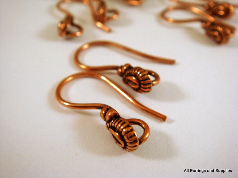 Fancy Earring Wires, Antique Copper Teardrop Fishhooks, Heavy Gauge 20mm - 10 pcs. - 6183-4