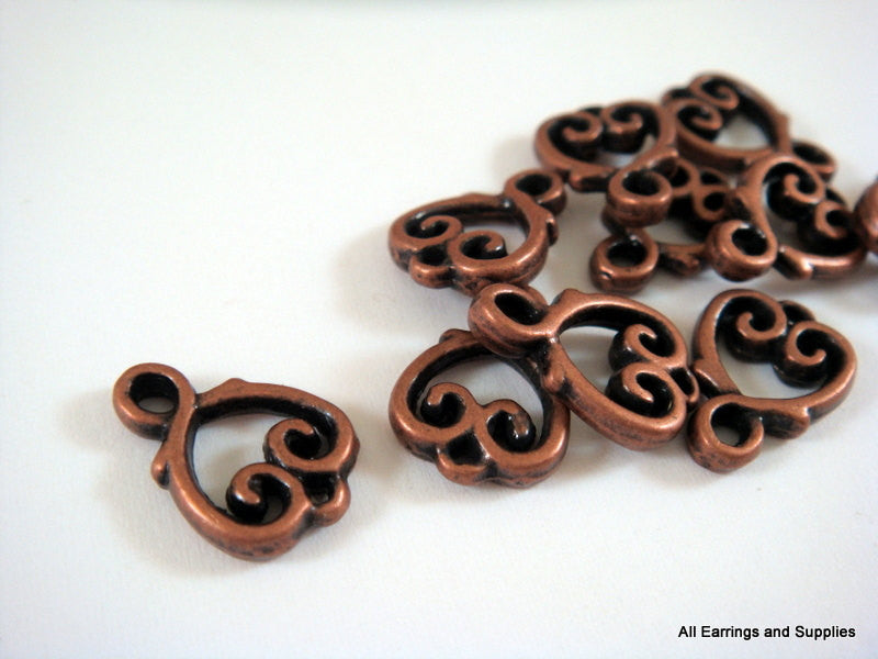 Antique Copper Connectors, Scrolled Heart Links or Drops LF/NF/CF 15x10mm - 10 pcs. - F4140LK-AC10