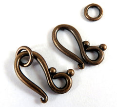 Antique Copper Hook and Eye Clasps, Plated Large Hole LF/NF/CF 20.5x12mm - 10 sets - F4204TG-AC10