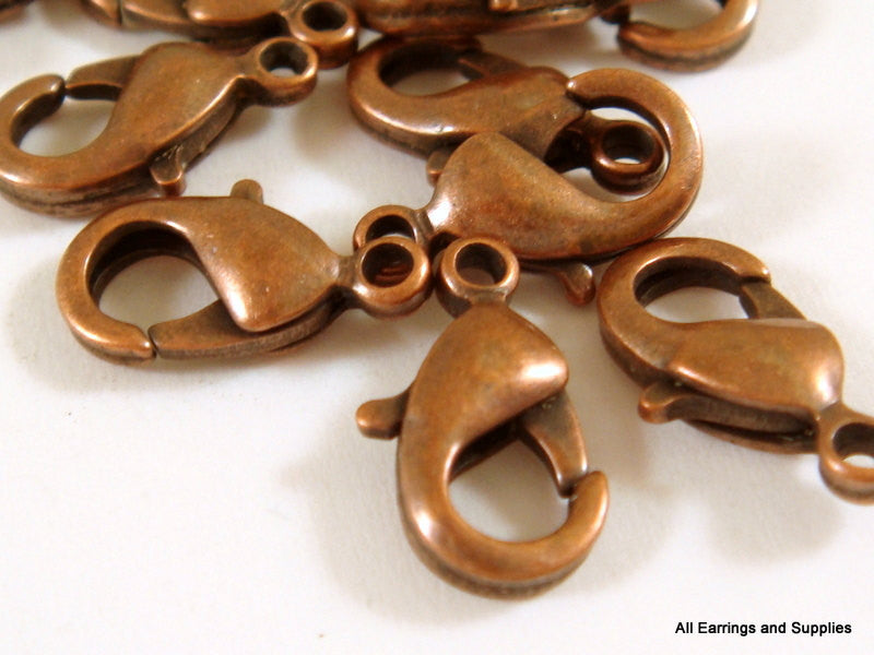 Lobster Claw Clasps, Antique Copper Finish 12x7mm - 25 pcs. - F4007LC-AC12-25