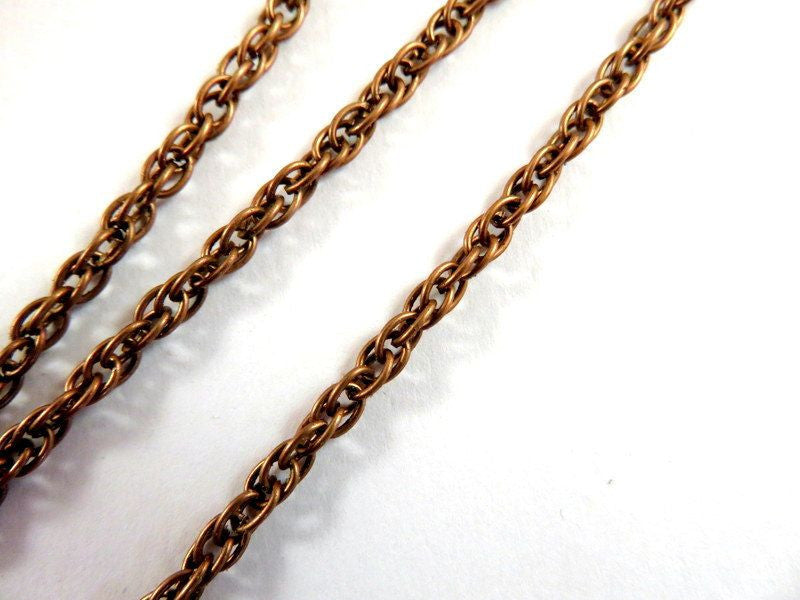 Antique Copper Chain, Pretzel Rope Style, Unsoldered, 3mm - 5 feet - STR9021CH-AC5