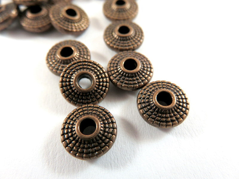 Antique Copper Beads, Red Large Hole Plated Metal Saucer Disk Spacers 8x3mm - 25 pcs. - M7072-AC25