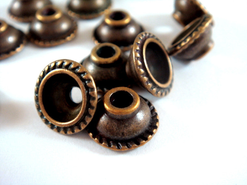 Antique Copper Bead Caps, Round Large Hole Domed LF/NF/CF 10mm - 12 pcs. - F4157BC-AC12
