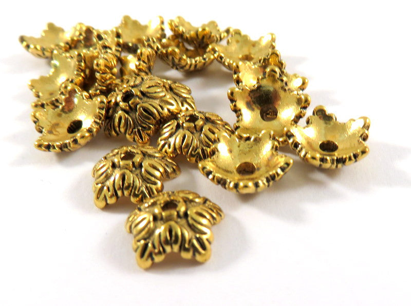 Antique Gold Bead Caps, Tibetan Style 5 Petal Flowers LF 10mm - 25 pcs. - F4191BC-AG25