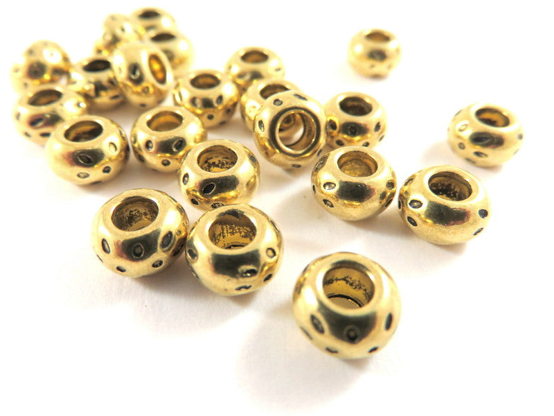 Antique Gold Beads, Large Hole Donut Rondelle Plated Metal Spacers LF/NF/CF 8x5mm - 25 pcs. - M7067-AG25