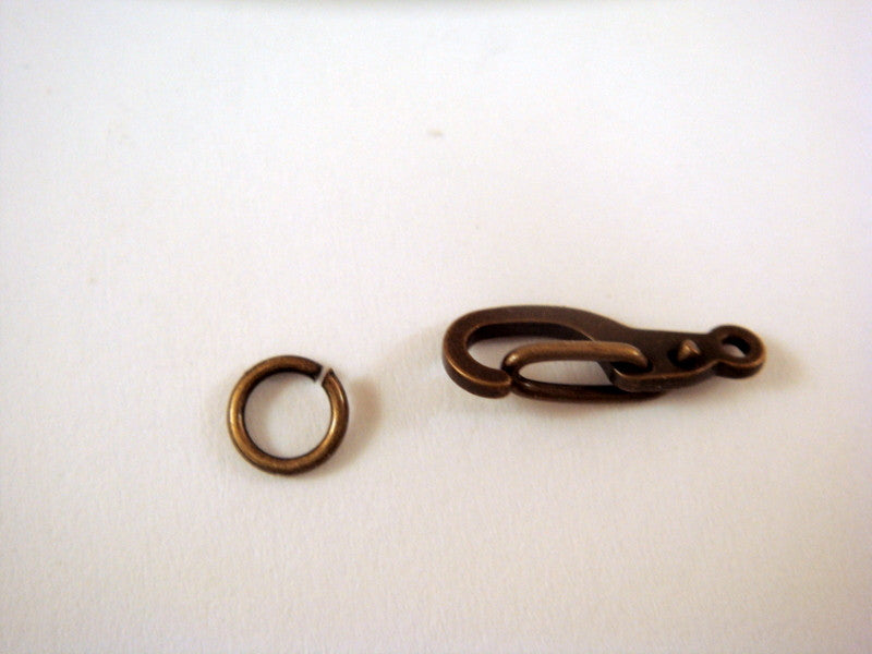 Self Closing Lobster Clasps, Antique Gold/Bronze Finish Brass with Jump Ring 11x5mm - 4 sets - 6375-7