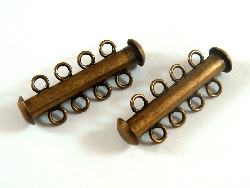 Slide Lock Clasps, Antique Gold/Bronze Plated Brass 4 Strand 26x6mm - 2 sets - 6352-14