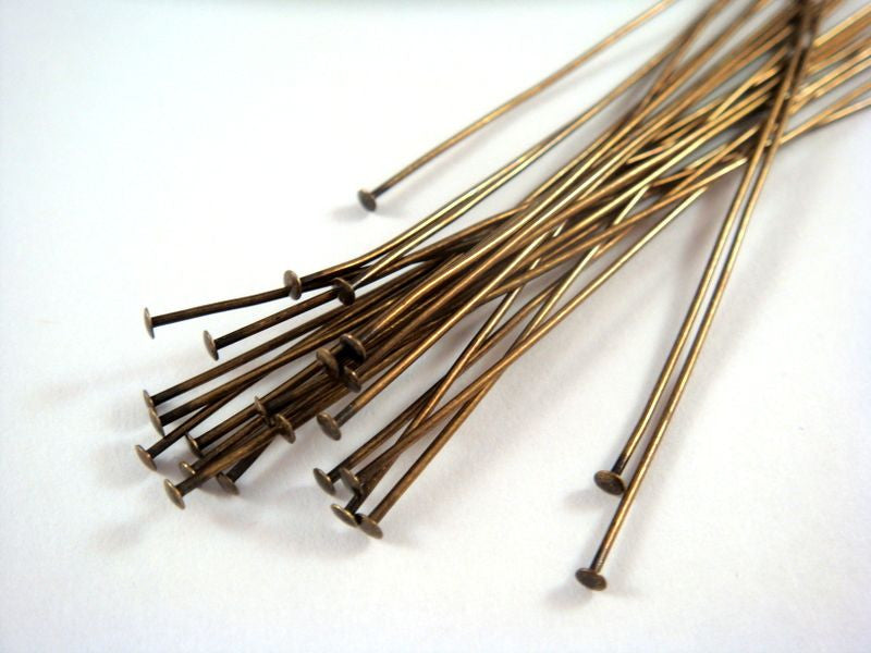 Flat Headpins, Antique Gold Finished Brass, 3 in./7.6cm, 21g - 25 pcs. - F4001HP-AG325