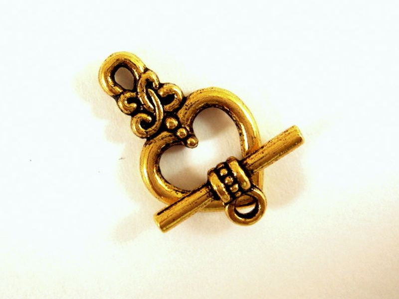 Antique Gold Heart Toggle Clasps