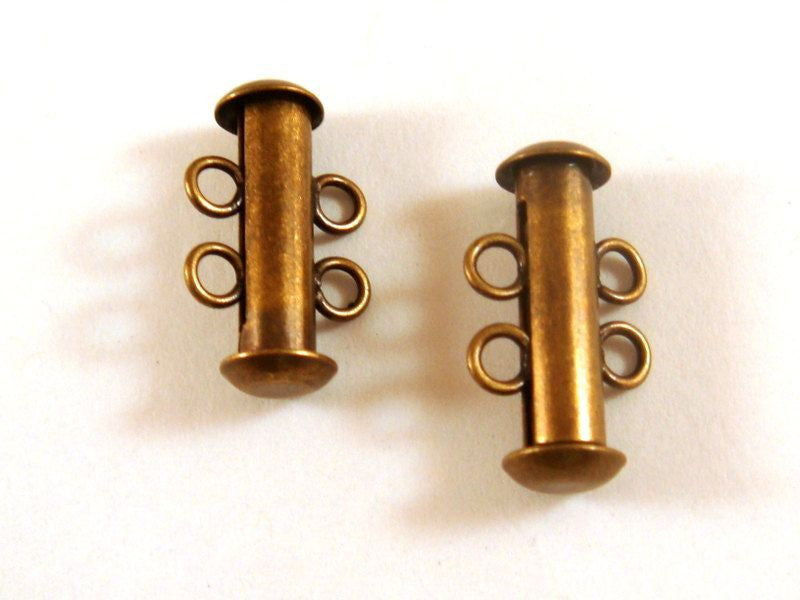 Slide Lock Clasps, Antique Gold/Bronze Plated Brass 2 Strand 16x6mm - 2 sets - 6351-14