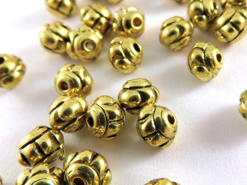 Antique Gold Beads, Small Bicone Flower Plated Metal Spacers 5x4mm - 50 pcs. - M7003-AG50